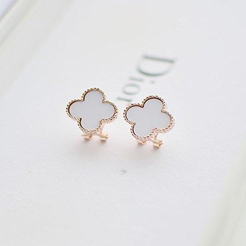 HJPRT four-leaf clover earrings earings dangler eardrop exquisite women girls ear clip non pierced creative gift woman elegant ear buckle (white earrings models