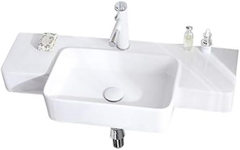 シンク周り用品 バスルームのシンク長方形統合盆地壁掛けセラミック盆地バルコニーバスルームシンプルなシンクの洗面化粧台回転ホットとコールド蛇口 (Color : 白, Size : 86.5*39*12cm)