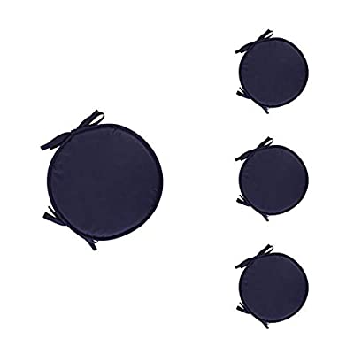 Leono Freedi Set of 4 Seat Cushions with Ties - Round Seat Pad Cushion Chair Pads for Home Office(Diameter 38cm,Navy): Home & Kitchen