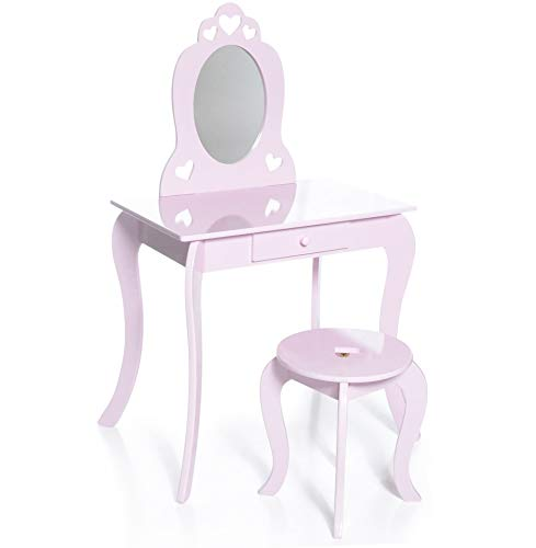 Milliard Kids Vanity Makeup Table and Chair Set, Pretend Beauty Make Up Stool Play Set for Children, Pink with Mirror]()