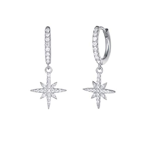 (Carleen White Gold Plated 925 Sterling Silver CZ Cubic Zirconia Star Dangle Small Drop Hoop Earrings For Women Girls)