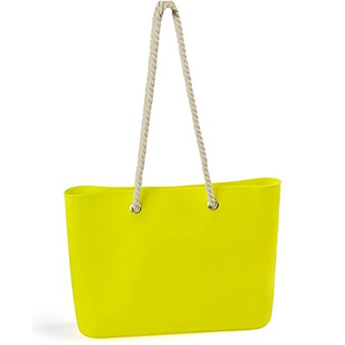 2017 Bag Bag Color Hemp Women's Silicone Candy Jelly Yellowgreen Bag Beach Shoulder Rope Creative Shoulder Bag qz1Xt1x