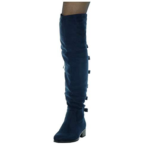 blocco blocco blocco Foderato Alti Pelliccia nodo cavalier donna alto alto alto alto di CM Tacco flessibile Stivali da Angkorly tacco soletta 3 Blu Scarpe 5 a Moda nRX8xPUW