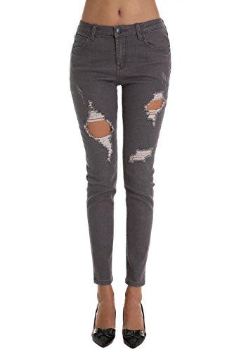 ZLZ Pantalones Jeans Rotos Vaqueros Agujero de Mezclilla Gris