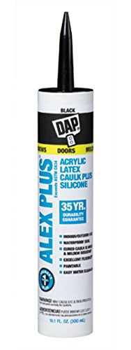 Dap 18107 Black Alex Plus Acrylic Latex Caulk Plus Silicone 10.1-Ounce (Best Caulk For Interior Windows)