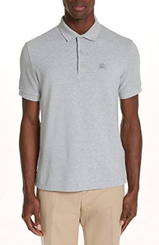 BURBERRY Men's Hartford S/S Cotton Piqué Polo Shirt in Grey ()