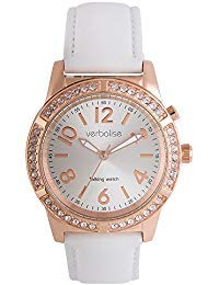 Verbalise Ladies Gold Talking Watch with Swarovski Crystals and White Leather Strap (Rose Gold)