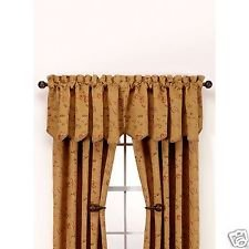 Regal Floral Valance - Richfield Embroidered Floral Gold Chenille 52 x 21 Scallop Valance