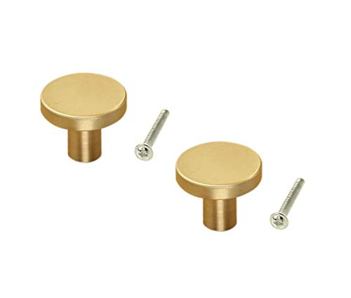 Karcy 2pcs Brass Knob Pull Hnadle for Bath Kitchen Cabinetry Furniture Cabinet Gold Medium