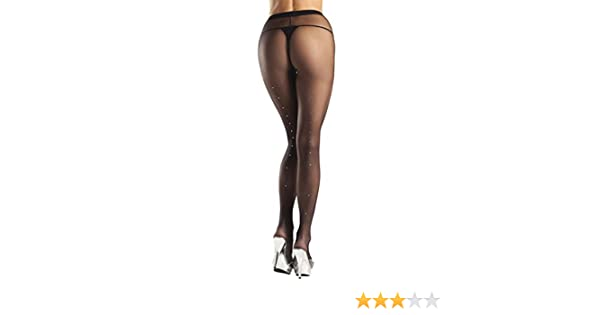 f706cf3b737 Amazon.com  Be Wicked Women s plus-size Rhinestone Backseam Sheer Pantyhose