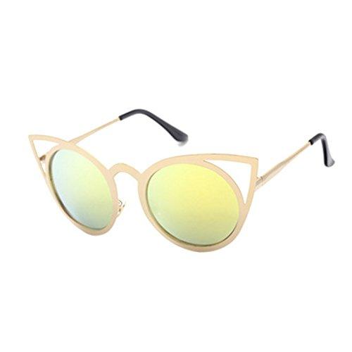 metal Gafas sol Gafas Dorado de Redondo Unisex gato Marco ojo de Yefree Lente Gafas de sol de Espejo 1PHddx