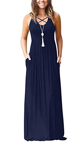 LILBETTER Women A-line Swing Maxi Dresses Sleeveless Long Casual Dresses (XXL, Sleeveless Navy Blue)