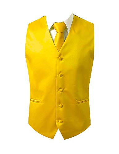 Mens 3pc Vest Set-Yellow Gold-XS