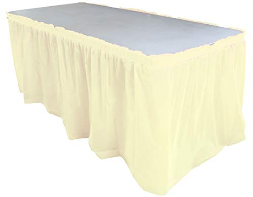 Exquisite Solid Color 14 Ft. Plastic Tablecloth Skirt, Disposable Plastic Tableskirts - Ivory - 6 Count ()