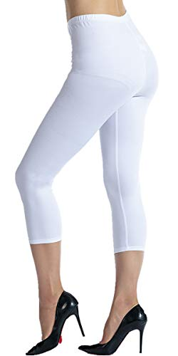 Ndoobiy Ultra Soft Women Yoga Capris Cropped Leggings-Regular and Plus Size CL6(White PS)