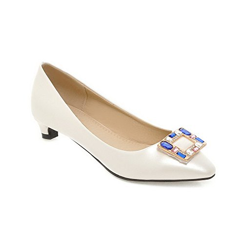 AmoonyFashion Womens Solid PU Low-Heels Square Closed Toe Pull-on Pumps-Shoes White Ae88S5sZYH