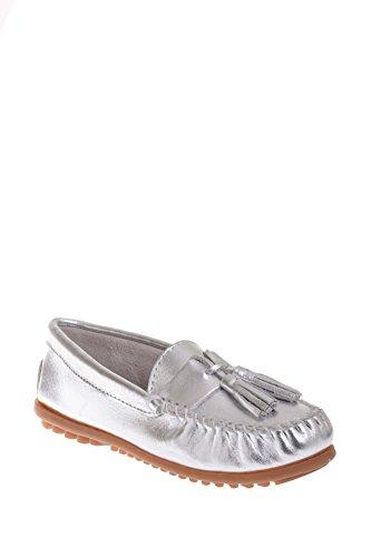 Minnetonka Shoes Womens Grace Moc Slip On Leather Tassels Silver 411T (8.5 B(M) US, Silver)