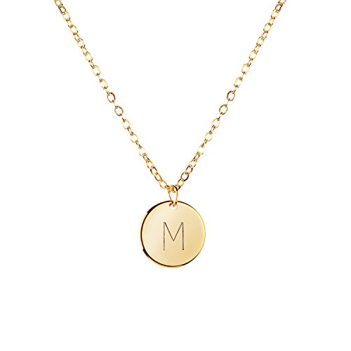 MignonandMignon Gold Initial Necklace Initial Disc Necklace Mothers Day Gift Bridesmaid Jewelry Gift for Her (Initial Disc Necklace)