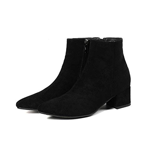 Women's Boots Pointed Toe Yarn Elastic Ankle Boots Thick Heel High Heels Shoes,2 Black,8