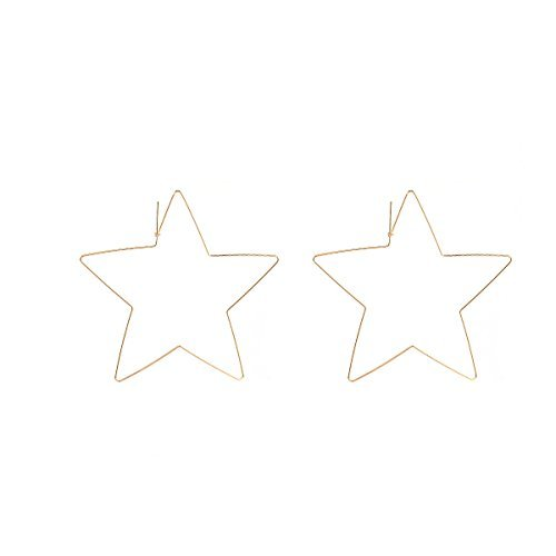 Star Hoop Earrings Large Geometric Dangle Hoops Earrings Gold Plated Fashion Earrings for Women ()