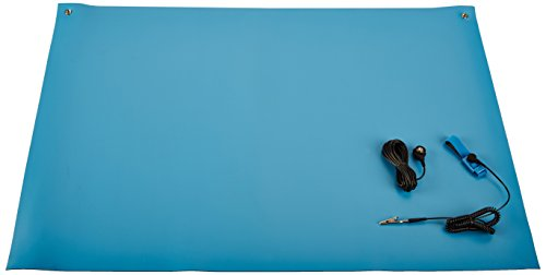 Bertech ESD High Temperature Rubber Mat Kit with a Wrist Strap and Grounding Cord, 2' Wide x 3' Long x 0.08'' Thick, Blue by Bertech (Image #1)