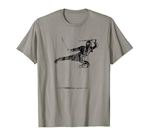 Flying Ninja Kick - Warrior Ninja Flying Kick T-Shirt History Vintage Japan Tee