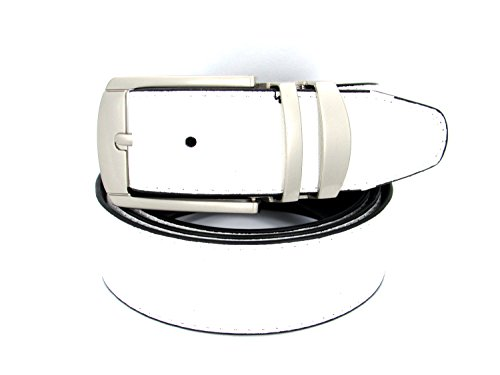 Reversible Bonded Leather Belt 35mm (48, White) - 35 Mm Bridle