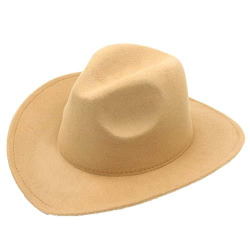 Men's Faux Felt Western Cowboy Hat Outdoor Classic Wide Brim Fedora Cattlemen Hat Khaki