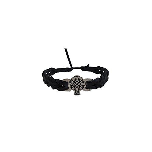 Pewter Black Leather Bracelet (Celtic Cross Bracelet Pewter Faux Leather Braided Made in Ireland)