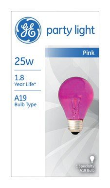 Ge Colored Light Bulb 25 W A19 Med Base 3-7/8 In. Pink