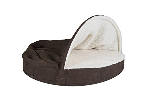 Furhaven Pet Dog Bed | Memory Foam Round Faux Sheepskin Snuggery Burrow Pet Bed for Dogs & Cats, Espresso, 35-Inch by Furhaven Pet (Image #5)
