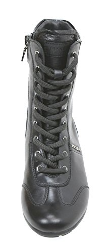 0T0367 BLACK LEATHER GIRL BOOT ANKLE JUNIOR CODE NERO BLACK PRADA zwq601W