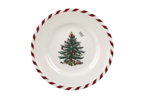 (Spode Christmas Tree Peppermint Canape Plate, 6-1/2-Inch, Set of 4)