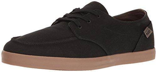 Boat Sneaker (Reef Men's Deck Hand 2 Fashion Sneaker, Black/Gum, 13 M US)