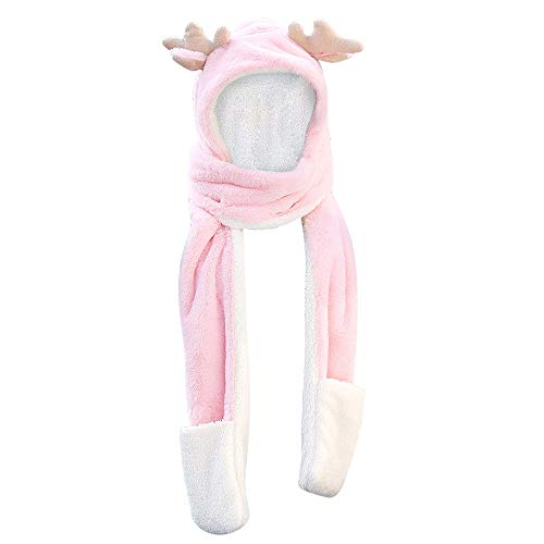 HHei_K Adult Winter Warm Reindeer Antlers Imitation Cashmere Tassels Christmas Double-Layer Thick Hat Scarf Gloves