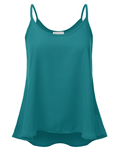 JJ Perfection Women's Solid Woven Sheer Scoop Neck Tank Top Blouse Turquoise (Turquoise Scoop)