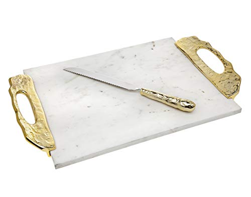 Marble Challah, Cutting, Carving Board with Gold Handle and - Gold Knife Carving