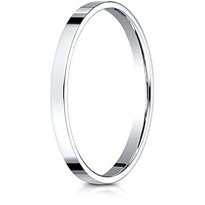 wholesale Benchmark 14K White Gold 2mm Traditional Flat Wedding Band Ring (Sizes 4 - 15 ) big discount