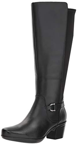 CLARKS Women's Emslie March Wide Calf Fashion Boot, Black Leather, 070 M US