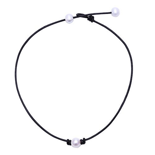 MAIMANI Single Freshwater Pearl Choker Necklace Bead on Black Genuine Leather Cord 15-17 Inch Adjustable 17' Leather Cord