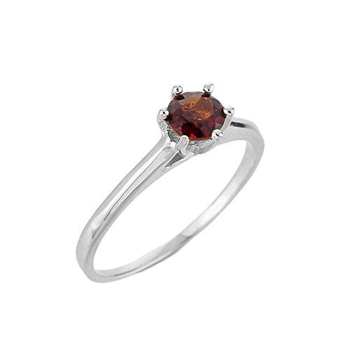 (Modern 10k White Gold Ladies Garnet Solitaire Ring (Size)