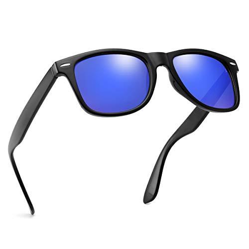(Polarized Sunglasses For Men Women Retro TR90 Frame Square Shades Vintage BRAND DESIGNER Classic Sun Glasses (Polarized blue lens))