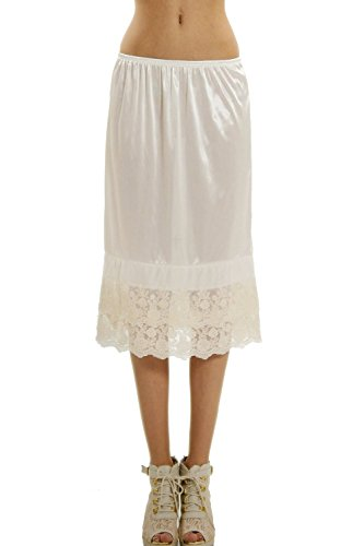 Melody Long Double Lace Satin Half Slip Extender Underskirt Skirt Extender 24