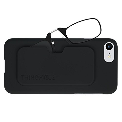ThinOptics Reading Glasses + iPhone 8 or iPhone 7 Case | Black Frames, 2.00 Strength