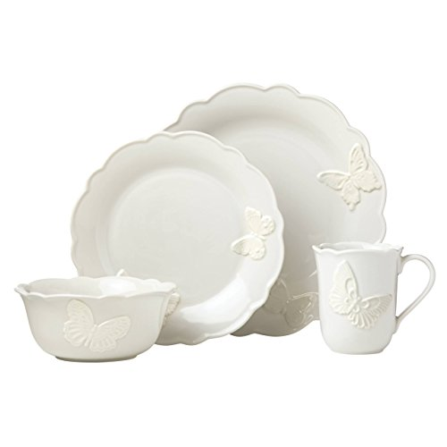 Lenox Butterfly Meadow Carved Vanilla 4 Piece Place - Store Lenox Outlet