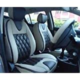 BIGZOOM _(BZ-503 Cross Grey) Stylish & Comfort fit Leatherite Car Seat Cover For Santro Xing