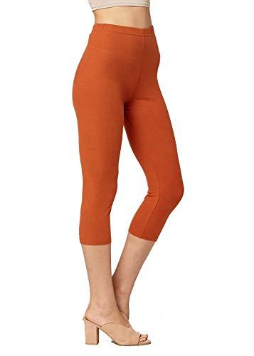 Premium Ultra Soft Womens High Waisted Capri Leggings - Cropped Length - Solid - Rust Orange - Small/Medium (0-12)
