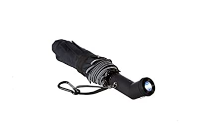 c7e8ee974301 M&M² Lightweight Windproof Compact Travel Black Rain Umbrella Auto Open  Close with Two Position Rotating LED Flashlight Handle