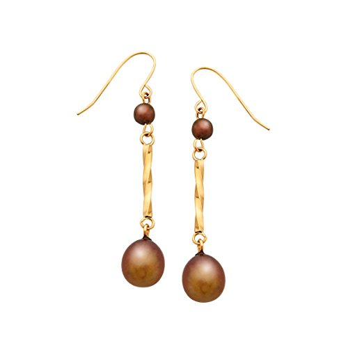 7 mm Chocolate Freshwater Cultured Pearl Drop Earrings in 14K Gold ()