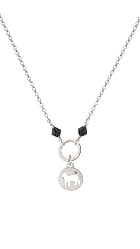 - Silvertone Lamb Silhouette - Black Eternity Circle Necklace, 20